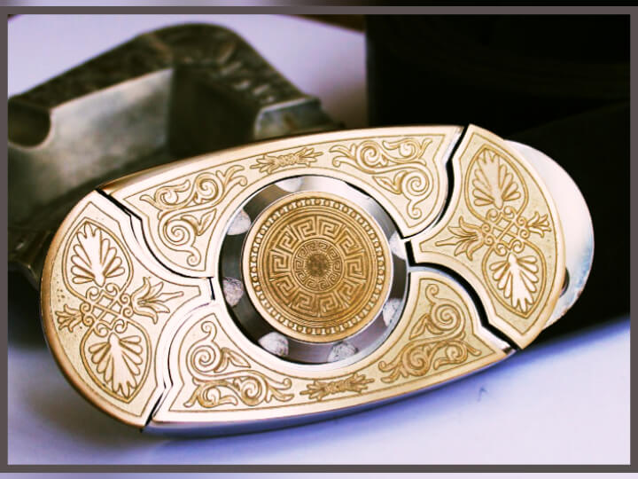 "Buckle-knife belt ""Gotika"", series Laser Brass"